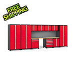NewAge Garage Cabinets PRO Series 3.0 Red 12-Piece Set with Bamboo Tops and Slatwall