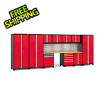 NewAge Garage Cabinets PRO Series 3.0 Red 12-Piece Set with Bamboo Tops, Slatwall and LED Lights