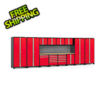 NewAge Garage Cabinets PRO Series 3.0 Red 14-Piece Set with Bamboo Tops and Slatwall