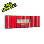 NewAge Garage Cabinets PRO Series 3.0 Red 14-Piece Set with Bamboo Tops, Slatwall and LED Lights
