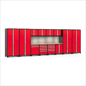 PRO Series 3.0 Red 14-Piece Set with Bamboo Tops, Slatwall and LED Lights