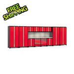 NewAge Garage Cabinets PRO Series Red 14-Piece Set with Stainless Steel Tops, Slatwall and LED Lights
