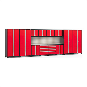 PRO Series Red 14-Piece Set with Stainless Steel Tops, Slatwall and LED Lights