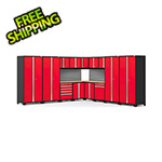NewAge Garage Cabinets PRO Series Red 16-Piece Corner Set with Bamboo Tops and Slatwall