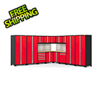 NewAge Garage Cabinets PRO Series Red 16-Piece Corner Set with Bamboo Tops, Slatwall and LED Lights