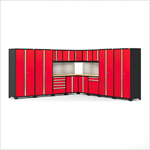 PRO Series Red 16-Piece Corner Set with Bamboo Tops, Slatwall and LED Lights