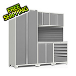 NewAge Garage Cabinets PRO Series 3.0 White 6-Piece Set with Stainless Steel Top and Slatwall
