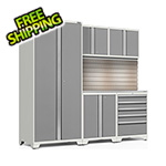 NewAge Garage Cabinets PRO Series 3.0 White 6-Piece Set with Stainless Steel Top, Slatwall and LED Lights