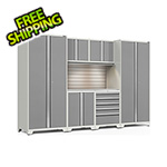 NewAge Garage Cabinets PRO Series 3.0 White 7-Piece Set with Stainless Top, Slatwall and LED Lights