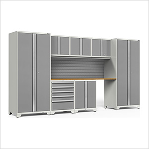 PRO Series 3.0 White 8-Piece Set with Bamboo Top and Slatwall