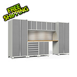 NewAge Garage Cabinets PRO Series 3.0 White 8-Piece Set with Bamboo Top, Slatwall and LED Lights