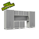 NewAge Garage Cabinets PRO Series 3.0 White 8-Piece Set with Stainless Steel Top and Slatwall