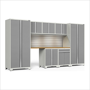 PRO Series 3.0 White 8-Piece Set with Bamboo Top, Slatwall and LED Lights