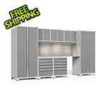 NewAge Garage Cabinets PRO Series 3.0 White 8-Piece Set with Stainless Steel Top, Slatwall and LED Lights