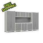 NewAge Garage Cabinets PRO Series 3.0 White 9-Piece Set with Stainless Steel Top and Slatwall