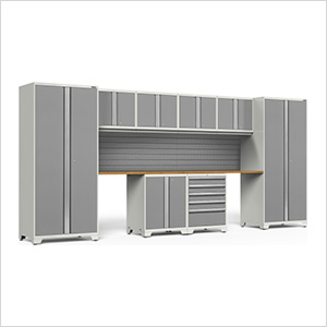 PRO Series 3.0 White 10-Piece Set with Bamboo Top and Slatwall