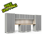 NewAge Garage Cabinets PRO Series 3.0 White 10-Piece Set with Bamboo Top, Slatwall and LED Lights