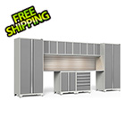 NewAge Garage Cabinets PRO Series 3.0 White 10-Piece Set with Stainless Top, Slatwall and LED Lights