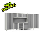 NewAge Garage Cabinets PRO Series 3.0 White 10-Piece Set with Stainless Steel Top and Slatwall