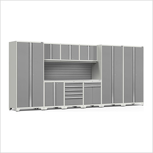 PRO Series 3.0 White 10-Piece Set with Stainless Steel Top and Slatwall