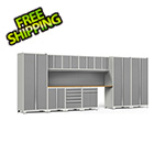 NewAge Garage Cabinets PRO Series 3.0 White 12-Piece Set with Bamboo Tops and Slatwall