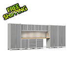 NewAge Garage Cabinets PRO Series 3.0 White 12-Piece Set with Bamboo Tops, Slatwall and LED Lights