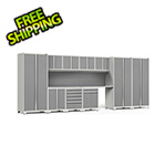 NewAge Garage Cabinets PRO Series White 12-Piece Set with Stainless Steel Tops and Slatwall
