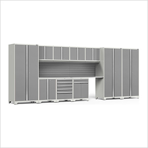 PRO Series White 12-Piece Set with Stainless Steel Tops and Slatwall