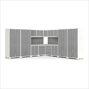 PRO Series White 16-Piece Corner Set with Stainless Steel Tops and Slatwall