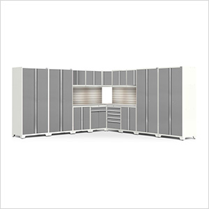 PRO Series White 16-Piece Corner Set with Stainless Tops, Slatwall and LED Lights