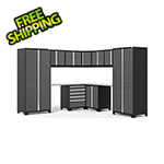 NewAge Garage Cabinets PRO Series 3.0 Grey 12-Piece Corner Set with Stainless Steel Tops and LED Lights