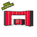 NewAge Garage Cabinets PRO Series 3.0 Red 12-Piece Corner Set with Stainless Steel Tops and LED Lights