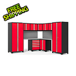 NewAge Garage Cabinets PRO Series Red 12-Piece Corner Set with Stainless Steel Tops and Slatwall