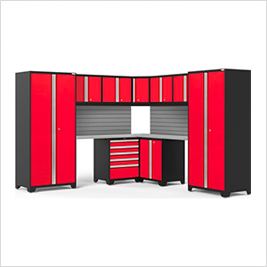 PRO Series Red 12-Piece Corner Set with Stainless Steel Tops and Slatwall