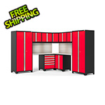 NewAge Garage Cabinets PRO Series Red 12-Piece Corner Set with Stainless Tops, Slatwall and LED Lights
