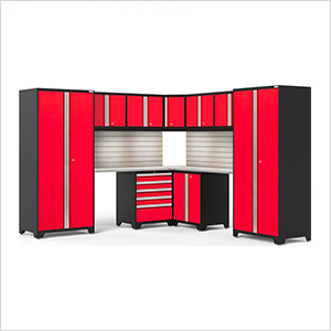 PRO Series Red 12-Piece Corner Set with Stainless Tops, Slatwall and LED Lights