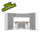 NewAge Garage Cabinets PRO Series 3.0 White 12-Piece Corner Set with Bamboo Tops