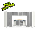 NewAge Garage Cabinets PRO Series 3.0 White 12-Piece Corner Set with Bamboo Tops and LED Lights