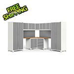 NewAge Garage Cabinets PRO Series White 12-Piece Corner Set with Bamboo Tops and Slatwall