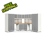 NewAge Garage Cabinets PRO Series White 12-Piece Corner Set with Bamboo Tops, Slatwall and LED Lights