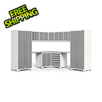 NewAge Garage Cabinets PRO Series 3.0 White 12-Piece Corner Set with Stainless Steel Tops