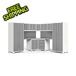 NewAge Garage Cabinets PRO Series White 12-Piece Corner Set with Stainless Steel Tops and Slatwall