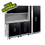 NewAge Garage Cabinets PERFORMANCE PLUS 2.0 Black 6-Piece Set with Slatwall