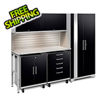 NewAge Garage Cabinets PERFORMANCE PLUS 2.0 Black 6-Piece Set with Slatwall and LED Lights