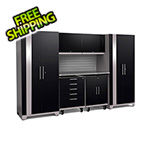 NewAge Garage Cabinets PERFORMANCE PLUS 2.0 Black 7-Piece Set with Slatwall