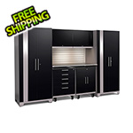 NewAge Garage Cabinets PERFORMANCE PLUS 2.0 Black 7-Piece Set with Slatwall and LED Lights