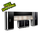 NewAge Garage Cabinets PERFORMANCE PLUS 2.0 Black 10-Piece Set with Slatwall and LED Lights
