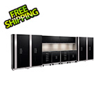 NewAge Garage Cabinets PERFORMANCE PLUS 2.0 Black 14-Piece Set with Slatwall and LED Lights