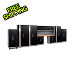NewAge Garage Cabinets PERFORMANCE PLUS 2.0 Black 11-Piece Set and Slatwall