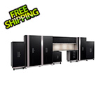 NewAge Garage Cabinets PERFORMANCE PLUS 2.0 Black 11-Piece Set with Slatwall and LED Lights